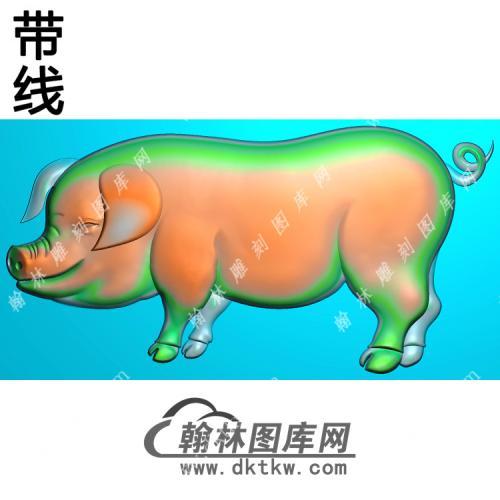 猪挂件素材带线精雕图(GZ-052)