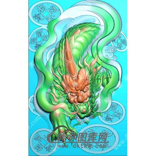 招财进宝铜钱貔貅46牌挂件精雕图(PX-060)