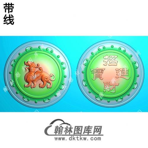 招财进宝圆牌貔挂件带线精雕图(PX-048)