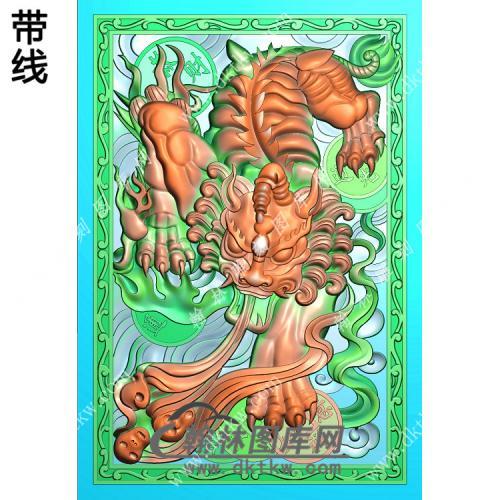招财貔貅46牌带线精雕图(PX-050)