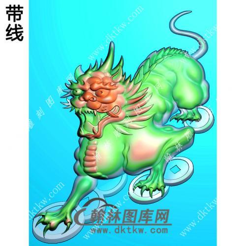 招财貔貅46牌挂件带线精雕图(PX-083)