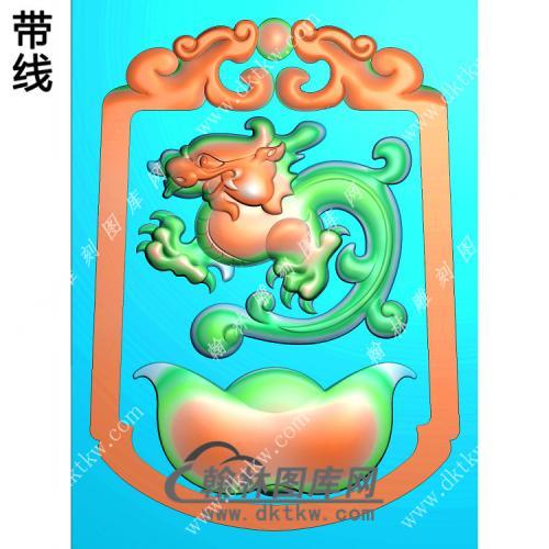 招财貔貅挂件带线精雕图(PX-098)