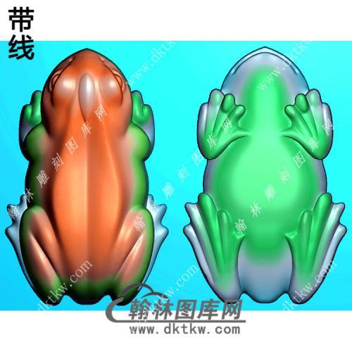 双面立体青蛙手把件带线精雕图(JC-025)