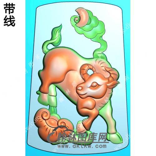 玉雕梯形灵芝如意牛挂件带线精雕图(GN-18)