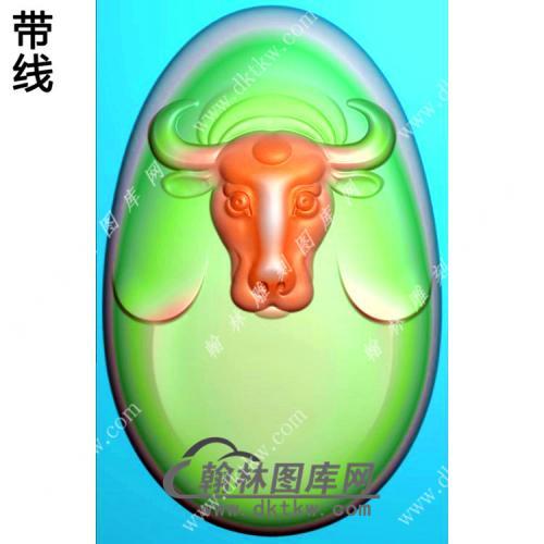 玉雕椭圆弧面牛头挂件带线精雕图(GN-17)