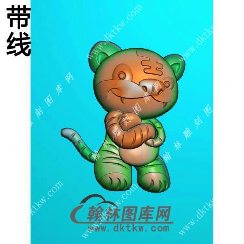 卡通生肖虎挂件带线精雕图(GH-066)