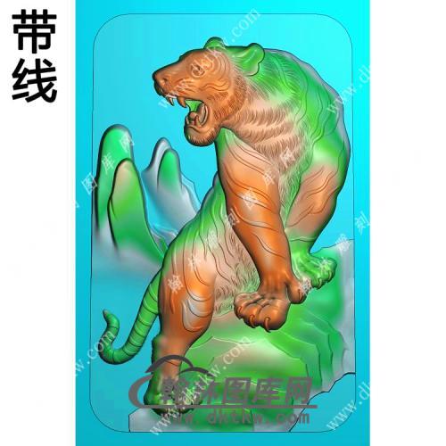 上山老虎挂件带线精雕图(GH-063)