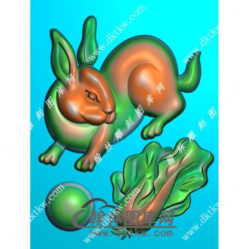 白菜兔子46牌挂件精雕图(GT-025)