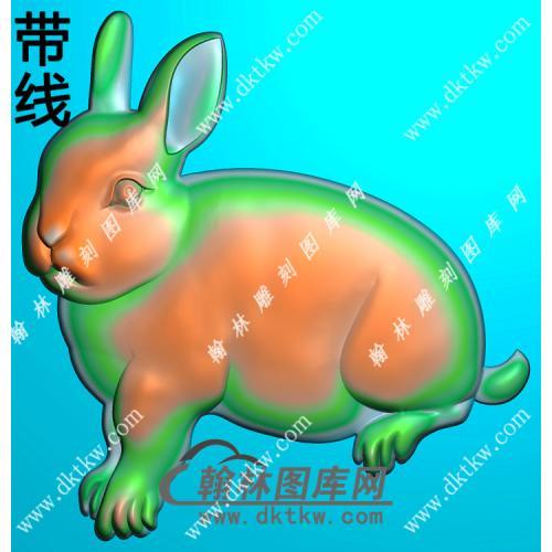 单只兔子挂件素材带线精雕图(GT-007)