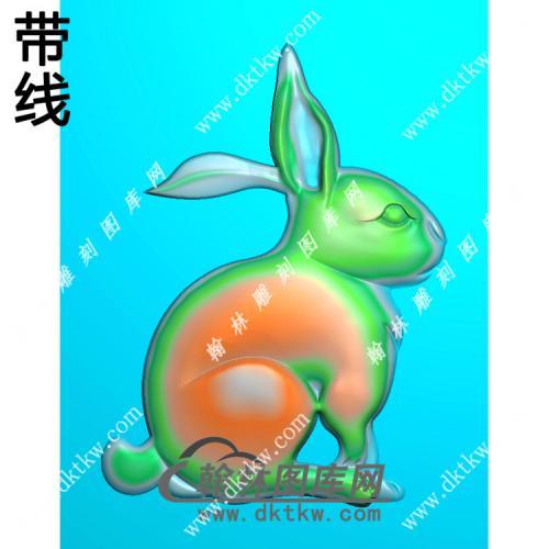 单只兔子挂件素材带线精雕图(GT-019)
