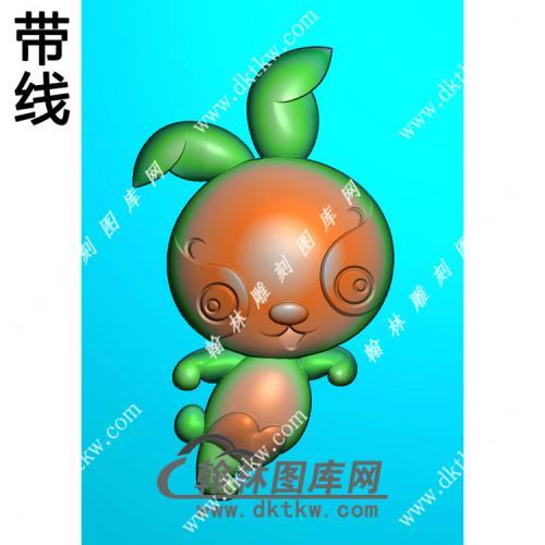 卡通生肖兔挂件带线精雕图(GT-024)