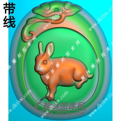 灵芝牌头兔子挂件带线精雕图(GT-018)