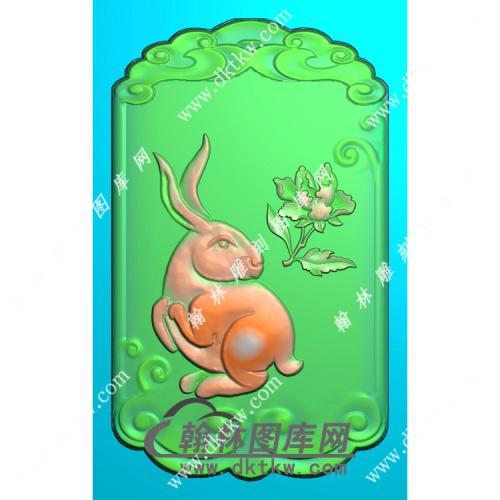 生肖兔挂件精雕图(GT-030)