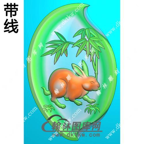 树叶形兔子挂件带线精雕图(GT-008)