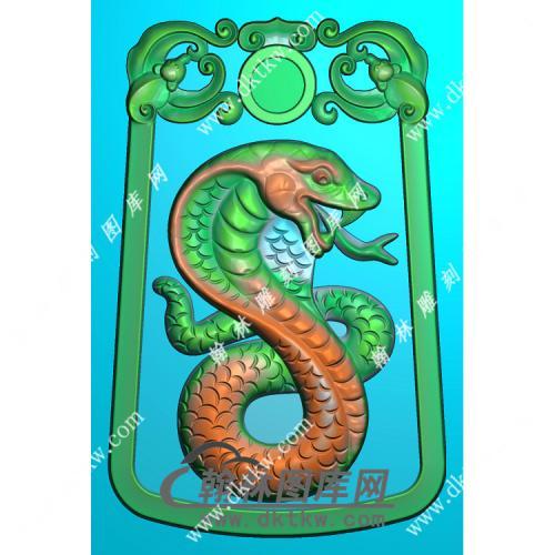 双面蛇挂件精雕图(GT-003)