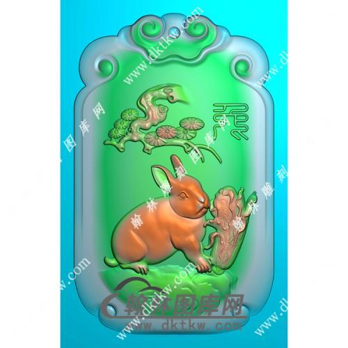 双面生肖兔挂件精雕图(GT-029)