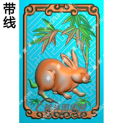 双面兔子46牌挂件带线精雕图(GT-014)