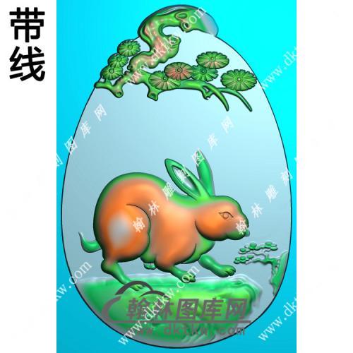 松树牌头兔子挂件带线精雕图(GT-028)
