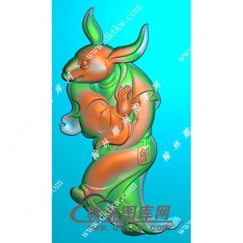 兔首人身挂件精雕图(GT-012)