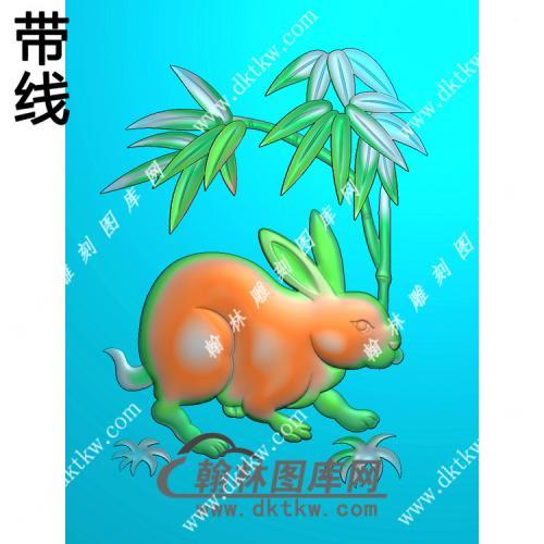 兔子46牌挂件带线精雕图(GT-013)