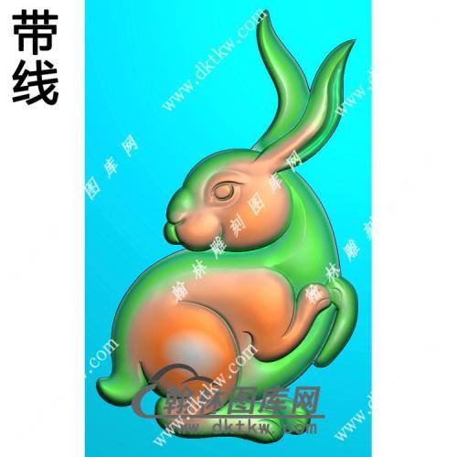 兔子46牌挂件带线精雕图(GT-031)
