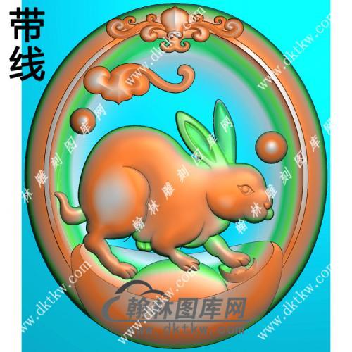 椭圆凹底生肖兔挂件带线精雕图(GT-033)