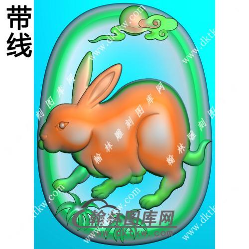 椭圆凹底生肖兔挂件带线精雕图(GT-038)