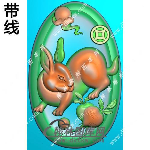 椭圆凹底兔子挂件带线精雕图(GT-022)