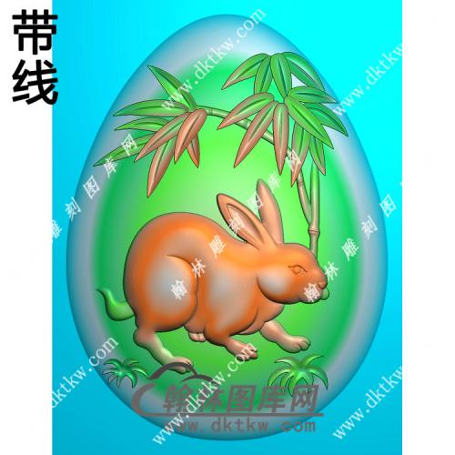 椭圆兔子挂件带线精雕图(GT-009)
