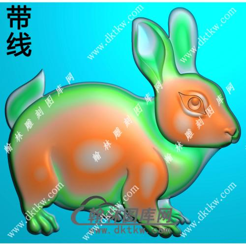 玉雕单只兔子挂件带线精雕图(GT-043)
