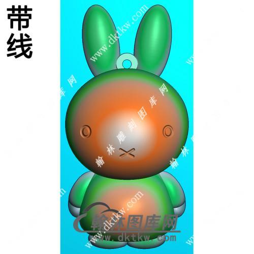 玉雕卡通兔子挂件带线精雕图(GT-046)