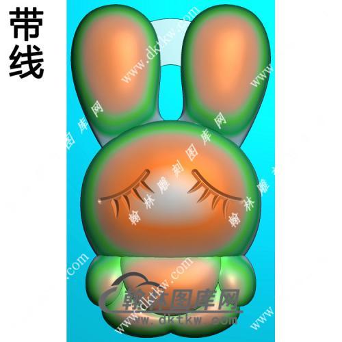 玉雕卡通兔子挂件带线精雕图(GT-047)