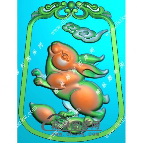 玉雕梯形双面草龙牌头兔子挂件精雕图(GT-051)