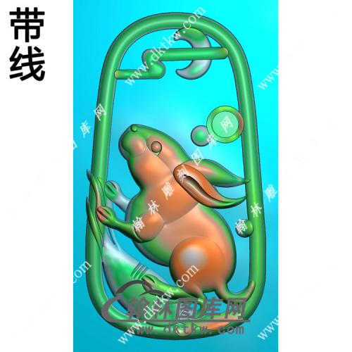 玉雕兔子挂件带线精雕图(GT-021)