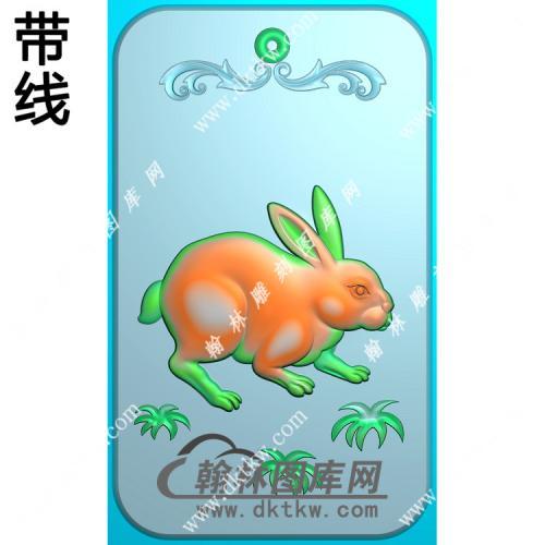 玉雕兔子挂件带线精雕图(GT-045)