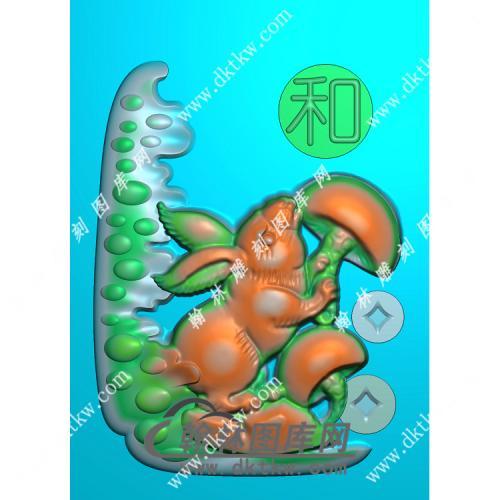 玉雕兔子挂件精雕图(GT-017)