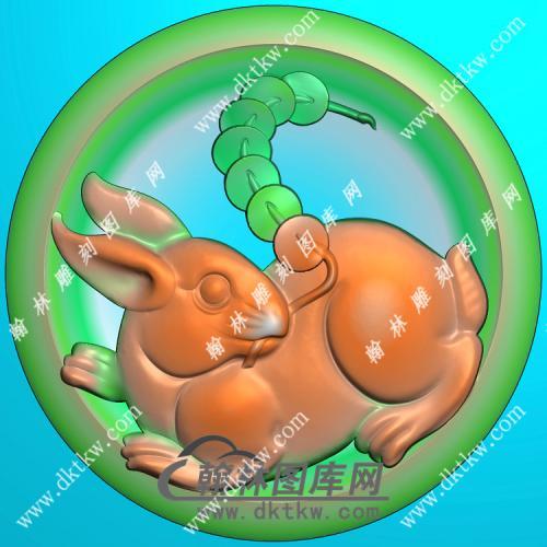 玉雕圆形凹底铜钱兔子挂件精雕图(GT-049)