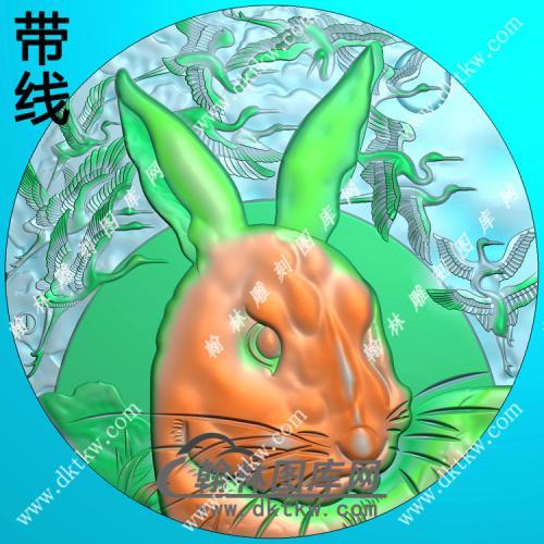 玉雕圆形兔子头挂件带线精雕图(GT-050)