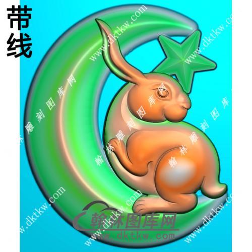 玉雕月亮兔子挂件带线精雕图(GT-052)