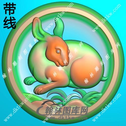 圆形凹底生肖兔挂件带线精雕图(GT-026)