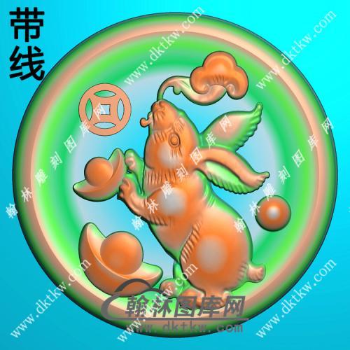 圆形凹底兔子挂件带线精雕图(GT-039)