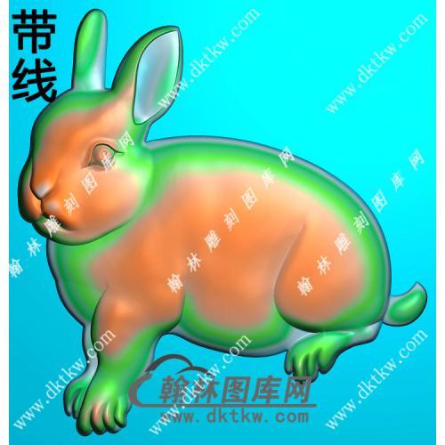 圆形兔子挂件带线精雕图(GT-006)