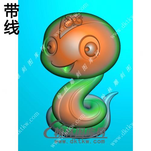卡通生肖蛇带线精雕图(GS-027)