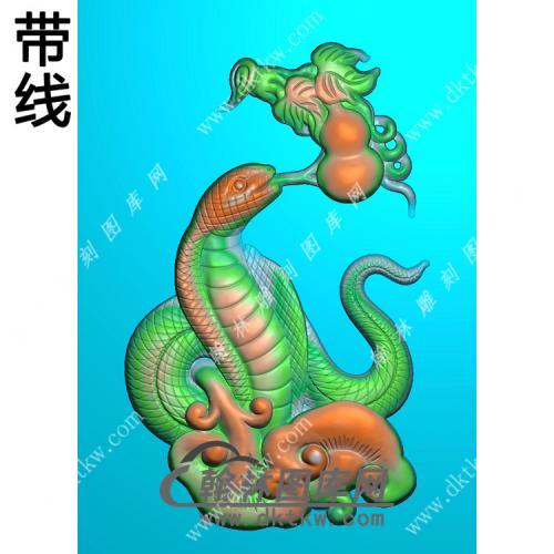 灵芝葫芦蛇挂件带线精雕图(GS-026)