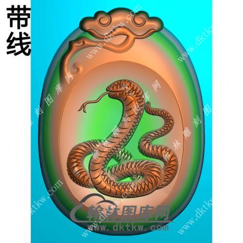 灵芝牌头蛇挂件带线精雕图(GS-013)