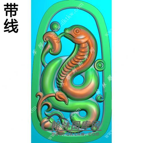 灵芝蛇挂件带线精雕图(GS-021)