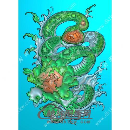 牡丹花蛇46牌挂件精雕图(GS-035)