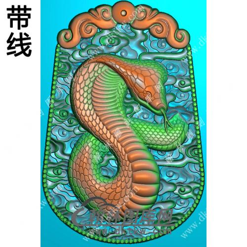 蛇牌挂件带线精雕图(GS-036)