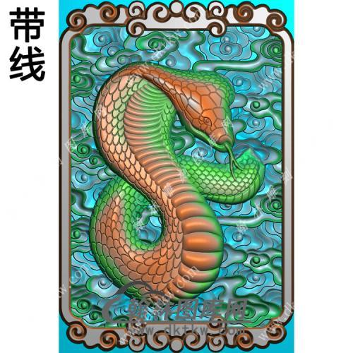 蛇牌挂件带线精雕图(GS-038)