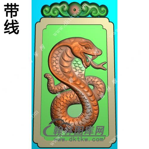蛇牌挂件带线精雕图(GS-044)